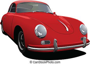 rode auto, sedan, op, de, road., vector