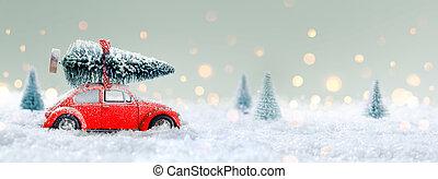 rode auto, verdragend, een, kerstboom