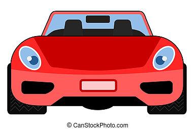 rode auto, vooraanzicht