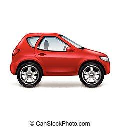 rode auto, vrijstaand, op wit, vector