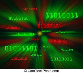 rode en brink, bytes, van, binaire code, vliegen, door, een,...