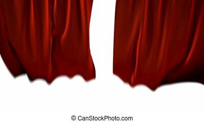 rode gordijnen, blown, van, de, wind