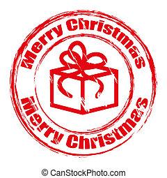 rode grunge, kerstmis, postzegel