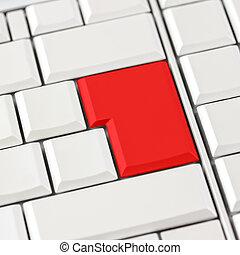rode knoop, op, toetsenbord