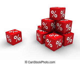 rode kubus, 3d, verkoop