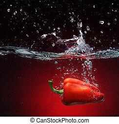 rode peper, het vallen, in, water