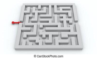 rode pijl, gaan, door, de, labyrint