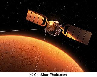rode planeet, is, weerspiegelde in, zonne, panelen, van,...