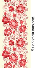 rode poppy, bloemen, verticaal, seamless, model, grens
