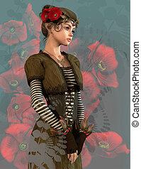 rode poppy, meisje, 3d, cg