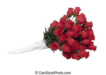 rode rozen, in, een papier, baddoek