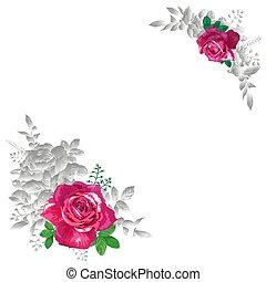 rode rozen, met, brink loof