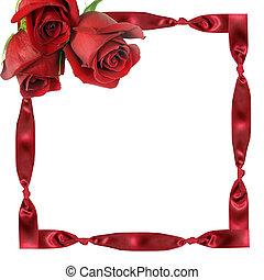 rode rozen, op, kader, van, een, cassette, met, knopen