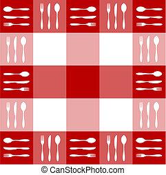 rode tablecloth, textuur, met, bestek, model