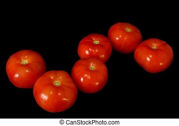 rode tomaat, op, black , achtergrond.