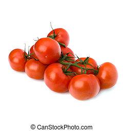 rode tomaat, vrijstaand, op, de, witte achtergrond