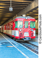 rode trein, op, de, zermatt
