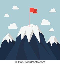 rode vlag, op, een, de piek van de berg
