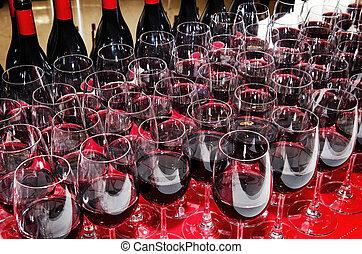 rode wijn, bril, en, flessen