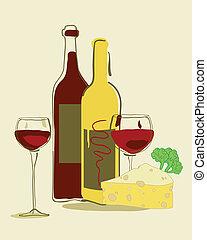 rode wijn, en kaas