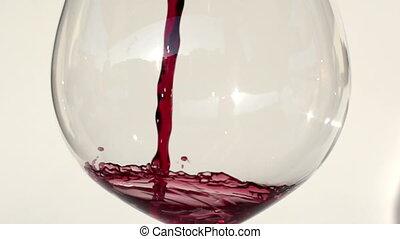 rode wijn, wezen, geregen, in, glas, grit, in, fantastisch,...