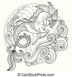 rodeado, negro, unicornio, hippocampus., mar, ondas, white...