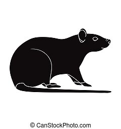 Rodent rat single icon in black style for design. Pest Control Service vector symbol stock illustration web.