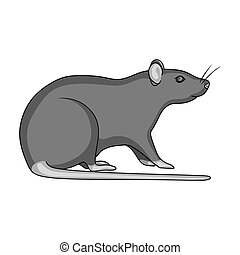 Rodent rat single icon in monochrome style for design. Pest Control Service vector symbol stock illustration web.