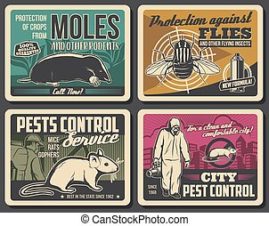 Rodents extermination, insects pest control poster