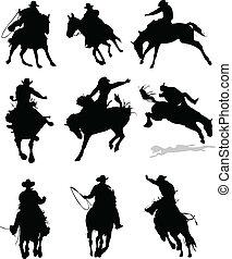 rodeo, caballo, silhouettes., il, vector
