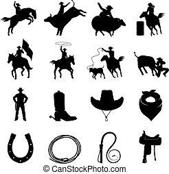 rodeo, conjunto, negro, iconos