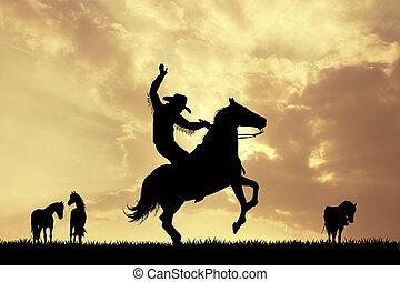 rodeo, cowboy, an, sonnenuntergang