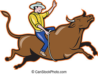 Rodeo Cowboy Bull Riding Cartoon