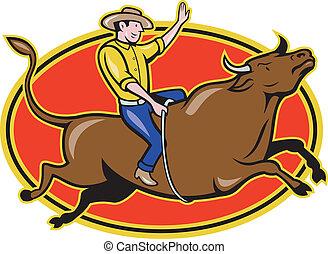 Rodeo Cowboy Bull Riding Cartoon