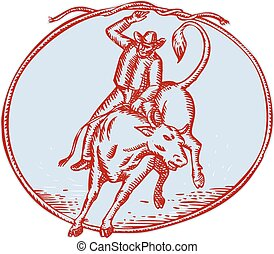 Rodeo Cowboy Bull Riding Circle Etching