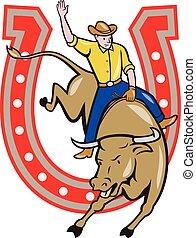 Rodeo Cowboy Bull Riding Horseshoe Cartoon