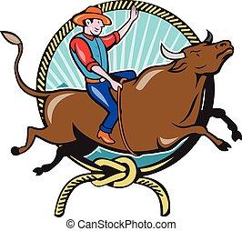 Rodeo Cowboy Bull Riding Lasso Cartoon