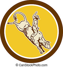 Rodeo Cowboy Bull Riding Retro Circle