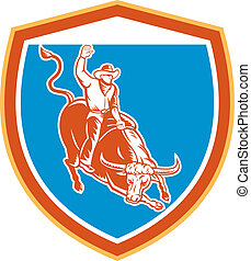 Rodeo Cowboy Bull Riding Shield Retro