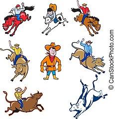 rodeo-cowboy-cartoon-set