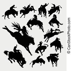 rodeo, cowboy, paardrijden, dier, silhouet