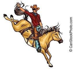 rodeo, cowboy, paardrijden, een, paarde, isolated.