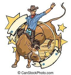 rodeo, cowboy, paardrijden, een, stier, etiket, ontwerp,...