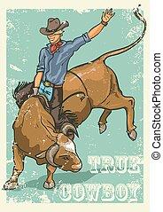 rodeo, cowboy, paardrijden, een, stier, retro stijl, poster.