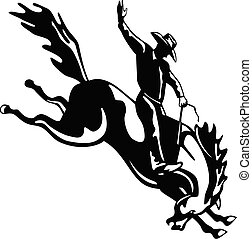 Retro style illustration of a rodeo cowboy riding a bucking bronco, a competitive equestrian sport viewed from side on isolated background done in black and white.