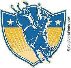 Rodeo Cowboy Riding Bucking Bull Stars Shield Retro