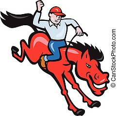 Rodeo Cowboy Riding Horse Isolated Cartoon
