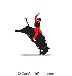Rodeo cowboy vector sign - Rodeo cowboy riding bucking bull...