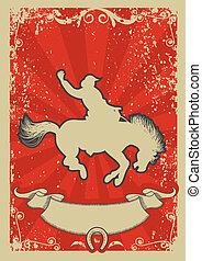Rodeo cowboy. Wild horse race. Vector graphic poster with grunge background