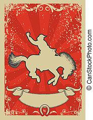 rodeo, cowboy.wild, paarde, race.vector, grafisch, poster, met, grunge, achtergrond